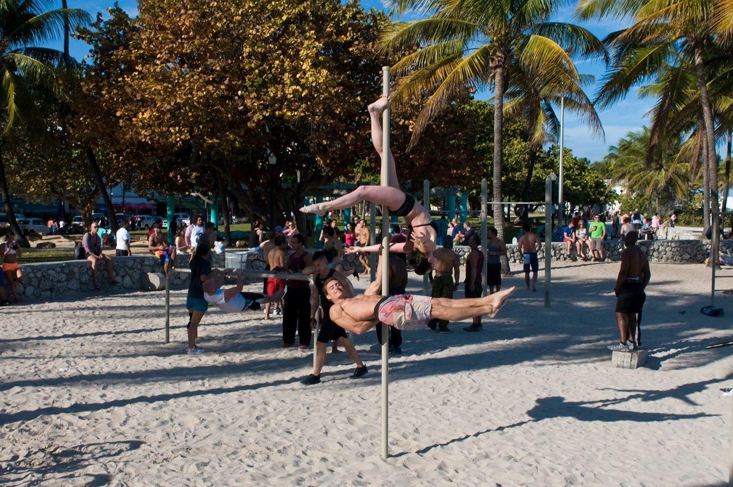 Calisthenics and pole dancing on Miami Beach
